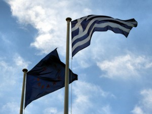 Greek & EU flags